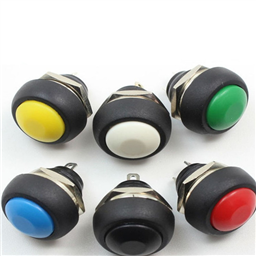 BLACK 12mm/3A Waterproof Momentary Push Button Switch